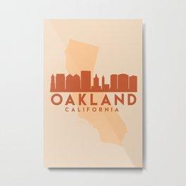 OAKLAND CALIFORNIA CITY MAP SKYLINE EARTH TONES Metal Print