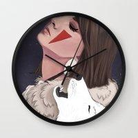 princess mononoke Wall Clocks featuring Princess Mononoke by Chelsea Hantken
