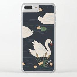 Swan Pond Dark Water Lily Pad Lotus Flowers Clear iPhone Case