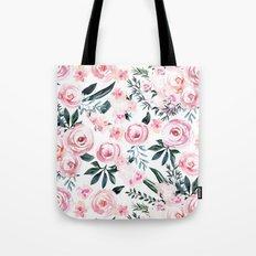 Floral Rose Watercolor Flower Pattern Tote Bag