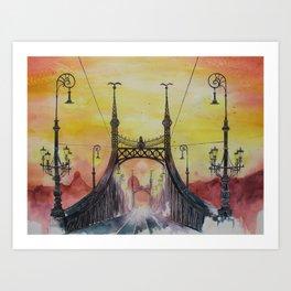 Budapest - Liberty Bridge Art Print