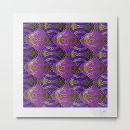 Christmas Ornament Tessellation in Blue Metal Print
