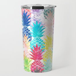 Hawaiian Pineapple Pattern Tropical Watercolor Travel Mug