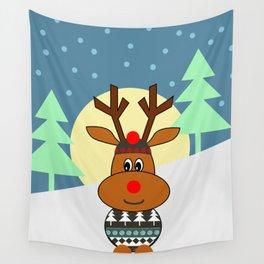 Reindeer in snow Wall Tapestry