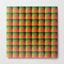 Indian Summer Multicolored Pixelated Tile Pattern Metal Print