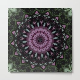 Rose And Jade Geometric Fantasy Mandala Pattern Metal Print