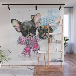 Rugged Up Frenchies Wall Mural