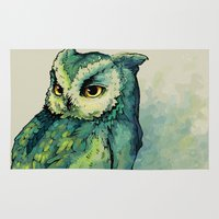 background Area & Throw Rugs featuring Green Owl by Teagan White