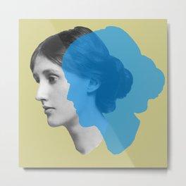 Virginia Woolf portrait green blue Metal Print