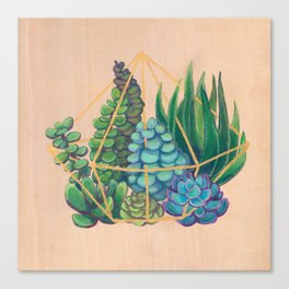 Geometric Terrarium 1 Acrylic on Wood Painting Canvas Print
