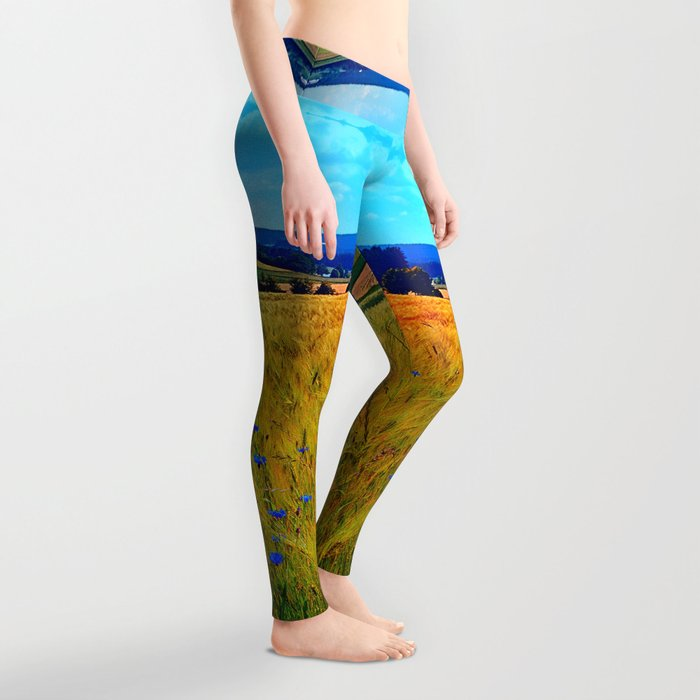 Fields of summer with flowers and scenery Leggings
