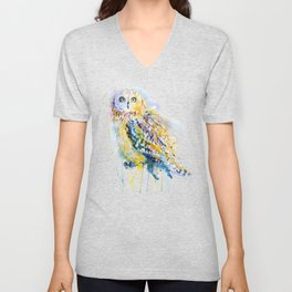 Short Eared Owl Watercolor painting Unisex V-Neck