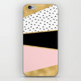 Pink & Gold Geometric Triangle Pattern iPhone Skin