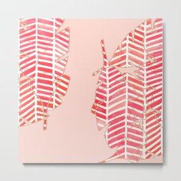 Herringbone Leaves Metal Print