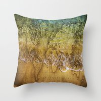world maps Throw Pillows featuring Maps by liberthine01