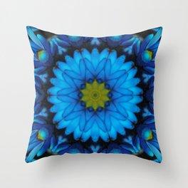 Blue Daisy Abstract Tile 42 Kaleidoscope Throw Pillow