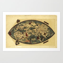 Genoese World Map (1457) Art Print