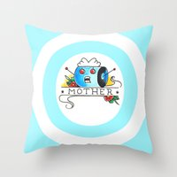 mother Throw Pillows featuring Mother  by Christopher Chouinard