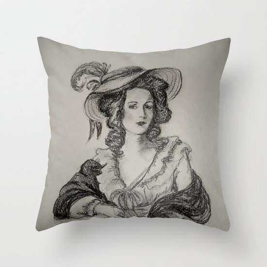 French Sketch IV Throw Pillow