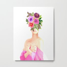 Pink Floral Thoughts Metal Print