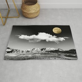 Black Desert Sky & Golden Moon // Red Rock Canyon Las Vegas Mojave Lune Celestial Mountain Range Rug