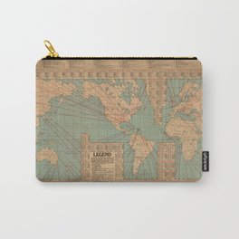 Vintage World Map Shipping Routes and Speeds (1923) Carry-All Pouch