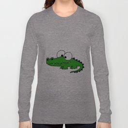 Funny Funky Green Alligator Art Long Sleeve T-shirt