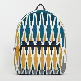 Boho, Geometric Pattern, Blue, Teal, Yellow and Gray Backpack
