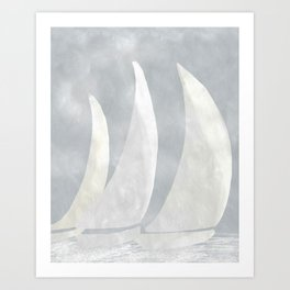 Sailboat Race, Sailing Art, Nautical Art Art Print