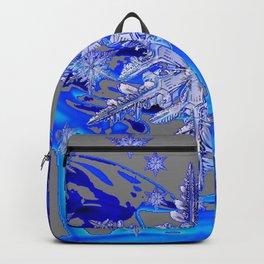 MODERN ROYAL BLUE WINTER SNOWFLAKES GREY ART Backpack