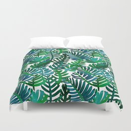 Round Palm Blue Green Duvet Cover