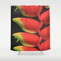 musa Shower Curtains featuring Heleconia rostrata by Sharon Mau