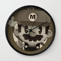 mario bros Wall Clocks featuring Mario Bros Fan Art by danvinci