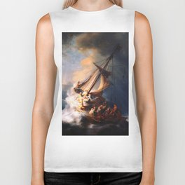 The Storm On The Sea Of Galilee Painting By Rembrandt Biker Tank