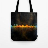 islam Tote Bags featuring Jerusalem City Skyline Hq v4 by HQPhoto
