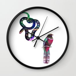 Snake and Bird Drawing Wall Clock
