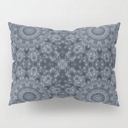 Gray - blue marble kaleidoscope, ornament elements print Pillow Sham
