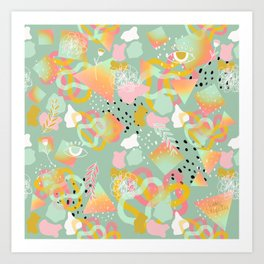 Rainbow Prism Candy Abstract Pattern Mint  Art Print