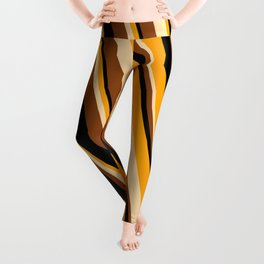 Orange, Tan, Brown, and Black Colored Striped Pattern Leggings