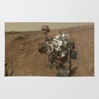 nasa Area & Throw Rugs featuring NASA Curiosity Rover's Self Portrait at 'John Klein' Drilling Site in HD by Planet Prints