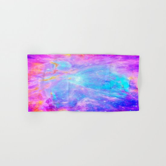 Orion nebulA : Bright Pink & Aqua Hand & Bath Towel
