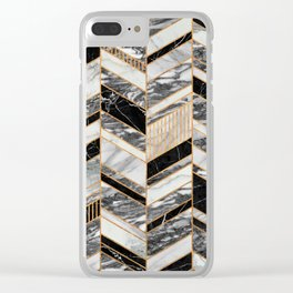 Abstract Chevron Pattern - Black and White Marble Clear iPhone Case