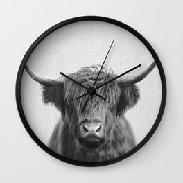 Highland Cow - Black & White Wall Clock