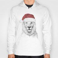 santa Hoodies featuring Santa lion by Balazs Solti