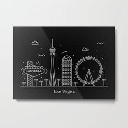 Las Vegas Minimal Nightscape / Skyline Drawing Metal Print