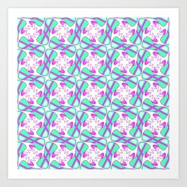 Cool Mint Kiss Bubble Gum Pink Simple Abstract Mint Candy Spirit Organic Art Print