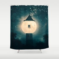 marianna Shower Curtains featuring The Moon Tower by Paula Belle Flores