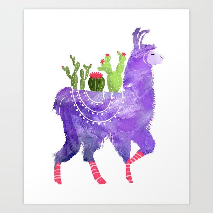 No Prob-Llama - Purple Llama and Cacti Kunstdrucke