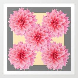 PINK DAHLIA FLOWERS IN YELLOW-GREY Art Print