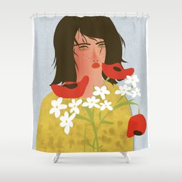 Jane With Flowers Shower Curtain